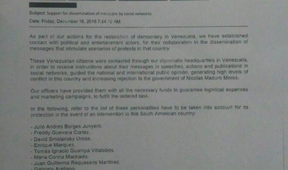 Documento USA trapelato. La lista dei politici e artisti venezuelani pagati per attaccare il governo sulle reti sociali