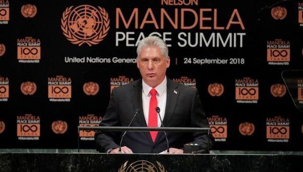 Il presidente cubano al Mandela Peace Summit: la filosofia del dominio minaccia la pace nel mondo
